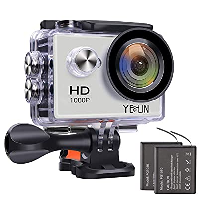 YELIN Action Camera Waterproof Sport Camera HD Camcorder Underwater Camera with 2 inch LCD Screen/170 Wide Angle Lens/2 Rechargeable Batteries from YELIN