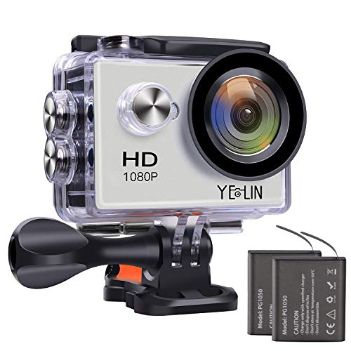 YELIN Action Camera 1080P Waterproof Sport Camera HD Camcorder Underwater Camera with 2 Inch LCD Screen/170 Wide Angle Lens/2 Rechargeable Batteries (Silver)