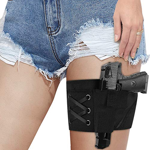 Leg Holster for Concealed Carry, Accmor Conceal Carry Gun Holsters Thig Garter Holster with Magazine Pocket Pouch for Women Lady