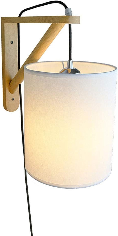 Moderne LED Massivholz Wandleuchte E27 Nachttischlampe Einfach Rund Wei Tuch-Schatten, für Wohnzimmer Schlafzimmer Küche Esszimmer Arbeitszimmer Gang Loft Balkon Innen Beleuchtung Flurlampe 20cm