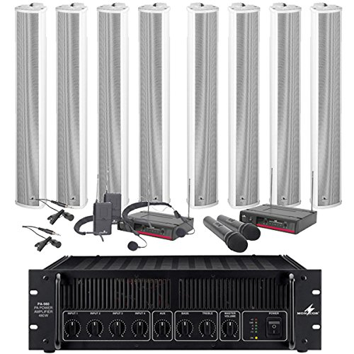 8 x 30W Säulenlautsprecher-Set, 480W Verstärker, Kabel & 4 Wireless Mics