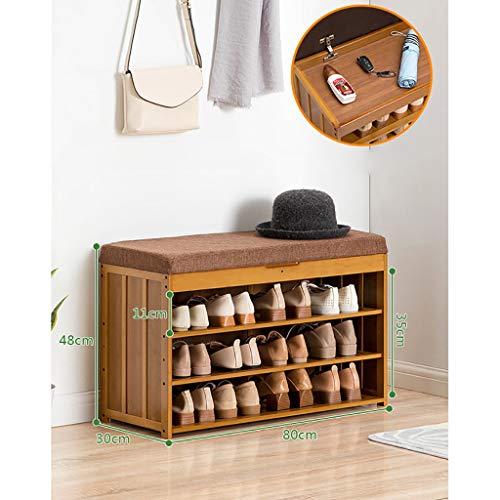 YXYxj Bancos con cajones Banco de Zapatos de bambú, con Tela de Tela y diseño de Almacenamiento de Racks de Almacenamiento Soporte de Organizador, sostiene hasta 220 lbs Zapatero