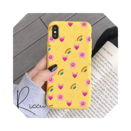 Pink Rainbow Candy Love Heart - Carcasa de silicona para iPhone 8, 7, 6, 6S Plus, X, XR 11, 12 Pro, Mini Pro XS Max, color amarillo