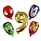 Kfdzsw Ballons 5pcs / lot Super héros Ballon Spiderman Aluminium Ballons Ballons de fête d'anniversaire Enfants décoration Baby Shower Homme Homme Ballons Fête (Color : Gold 9)