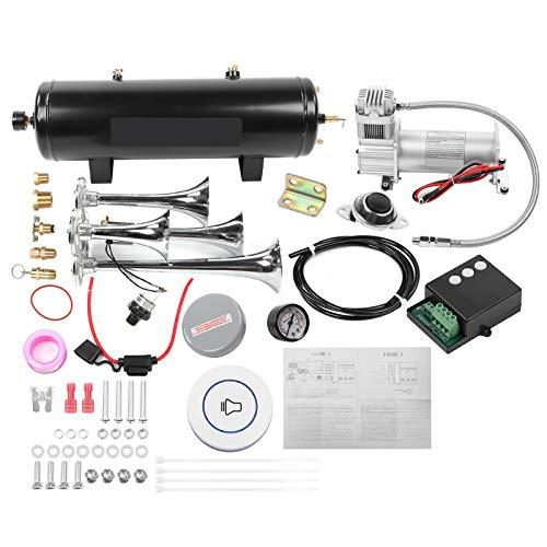 Akozon Bocina 200PSI Kit de bocina de aire de 4 trompetas Universal para recogida de coche de barco y yate Loud Systerm de acero inoxidable