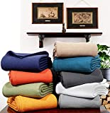 Urban Style Decor Ringspun Woven Waffle Cotton Blanket Cozy Breathable Thermal Cotton Throw Blanket Bed Spread Quilt for Bed & Couch/Sofa (Rusty Orange, King 90 x 108 Inches)