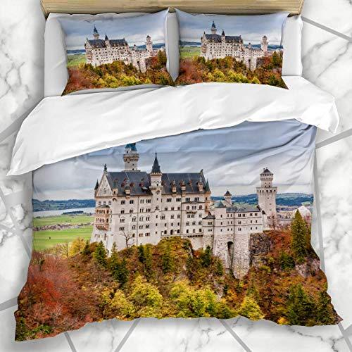 LISUMAL Bettwäsche - Bettwäscheset Neuschwanstein-Schloss berühmter touristischer feenhafter Anziehungskraft-bayerischer Alpen-Weinlese-grüner Autumn Forest Mikrofaser weich dreiteilig135*200