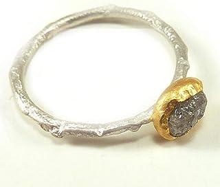 Silbering mit Rohdiamant, grauer uncut in 24 Kt. Feingoldfassung, Verlobungsring, Beisteckring - handgefertigt by SILVERLOUNGE