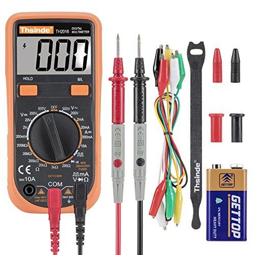 Digital Multimeter - Krokodilklemme Voltmeter Amperemeter Ohmmeter - AC/DC Spannung, DC Strom, Widerstand, Dioden, Transistor, Akustischer Durchgangsprüfer mit LCD Hintergrundbeleuchtung