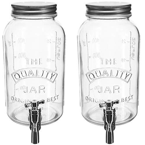 My-goodbuy24 Getränkespender aus Glas mit Zapfhahn | ver. Motive & Größen | Wasser-Spender | Limonadenspender | Saftspender | Bowle | 1 Liter - Quality 2er Set