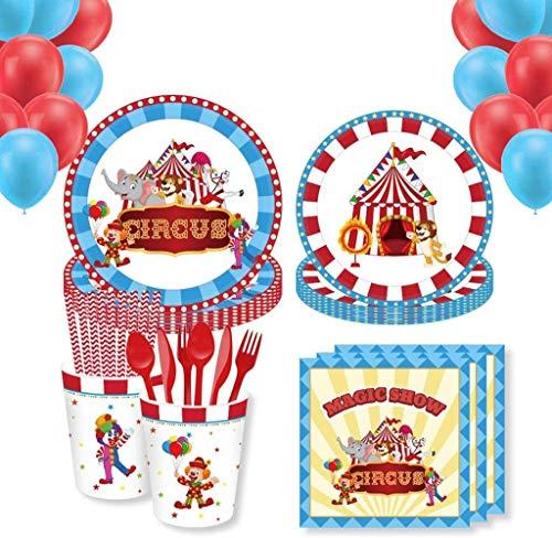 Juego Vajilla de Fiesta BESTZY 68PCS Set de vajilla de Fiestas con Tema de Circo Cumpleaños Tema Vajilla Suministros para Fiestas de cumpleaños Infantil