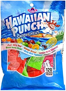 Adams & Brooks (1) Bag Hawaiian Punch Candy Chews Assorted Flavors - Fruity Juicy Red, Orange Ocean, Lemon Berry Squeeze, Green Berry Rush, Berry Blue Typhoon - 3 oz
