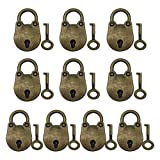 Zliger 10 Piezas Candado Vintage Multiusos Cerradura de Llave con Llaves Mini Candados Aleación de Zinc Cerradura de Llave para Artículos Pequeños Joyas Caja de Equipa