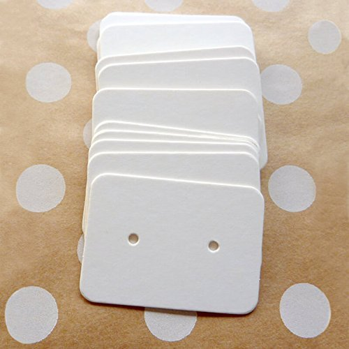 "200 PCS Earring Display Cards,White Paper Earrings Tags, 1"" x 1.4"" Ear Stud Earring Card (White)"