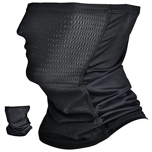 Neck Gaiter for Men Summer Sun Dust Protection Running Cooling Breathable Gaiter Mask for Men Balaclava Face Gaiter for Large Head Neck Black Reusable