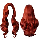 Long Wavy Curly Copper Red Wig Jessica Rabbit Costume Wig Heat Resistant Hair for Women Cosplay