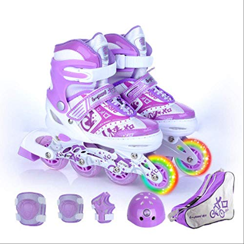 STBB Rollschuhe Kinder Inline Skate Rollschuh Schuhe Helm Knie Protektor Getriebe Verstellbar Waschbare Harte Räder Teenager 4 Farben Lila L EUR 38-41