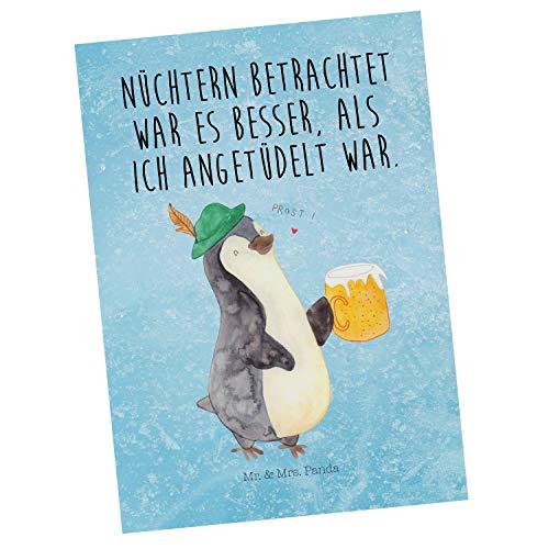 Mr. & Mrs. Panda Ansichtskarte, Karte, Postkarte Pinguin Bier mit Spruch - Farbe Eisblau