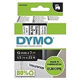 Dymo D1 Etichette Autoadesive per Stampanti LabelManager, Rotolo da 12 mm x 7 m, Stampa Nero su Bianco, 1 Pezzo
