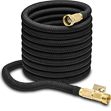 Nifty Grower 100ft Garden Hose - All New Expandable Water Hose with Double Latex Core, 3/4  Solid Brass Fittings, Extra Strength Fabric - Flexible Expanding Hose with Storage Bag for Easy Carry