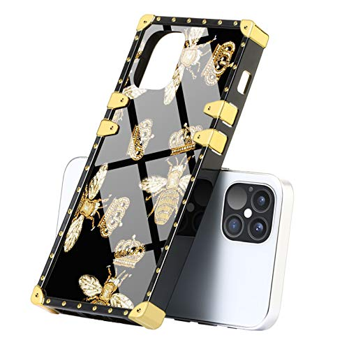 Luxury Square Case for iPhone 12 Pro Max Queen Bee Soft TPU Bumper Shockproof Protective Cover Metal Decoration Corner Back for iPhone 12 Pro Max