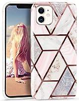 Imikoko iPhone 11 ケース ジオメトリー 大理石 ストラップホール付き ソフトケース 耐衝撃 おしゃれ Qi充電 シリコン TPU 軽量 保護カバー 6.1インチ (アイフォン11 浅ピンク格子縞)