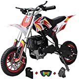 X-PRO Zephyr 40cc Kids Mini Dirt Bike Pit Bike Dirt Bikes Gas Power Bike Off Road Motorcycle with Gloves, Googles and Face Mask(Red)