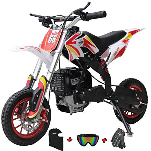 X-PRO 40cc Kids Mini Dirt Bike Pit Bike Dirt Bikes Gas Power Bike Off Road Motorcycle with Gloves, Googles and Face Mask,Red