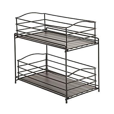 Seville Classics 2-Tier Sliding Basket Kitchen Cabinet Organizer, Gun Metal