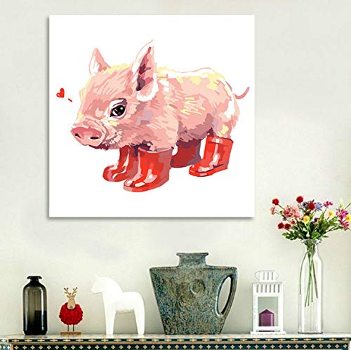 DENGLEI Numbers DIY Oil Painting Coloring by Red Pig with Rubber Boots digital Paint Cartoon Drawing for Kids