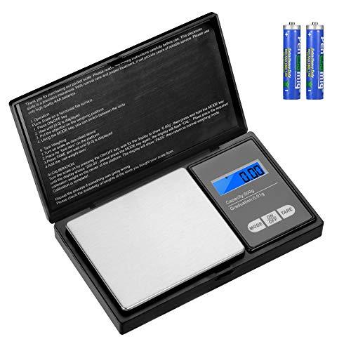 Aurora & Tithonus Digital Précision 500g / 0.01g, Balance de Cuisine en Acier Inoxydable avec écran LCD, pour Peser des Herbes, des Bijoux