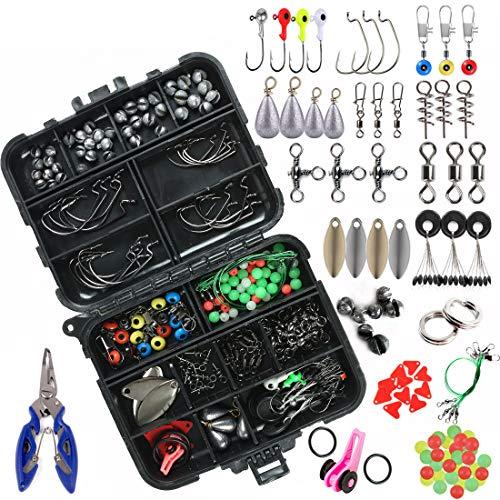 xie 188 pezzi kit di accessori per la pesca con attrezzatura da pesca, girelle a scatto, esche con kit di accessori