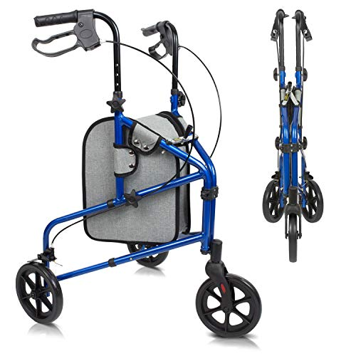 Vive Mobility 3 Wheel Rollator Walker - Lightweight and Foldable for Seniors, Elderly, Men, Women - Folding Heavy Duty Tri-Wheeled for Indoor/Outdoor Use - All Terrain Walking Support with Bag (Blue)