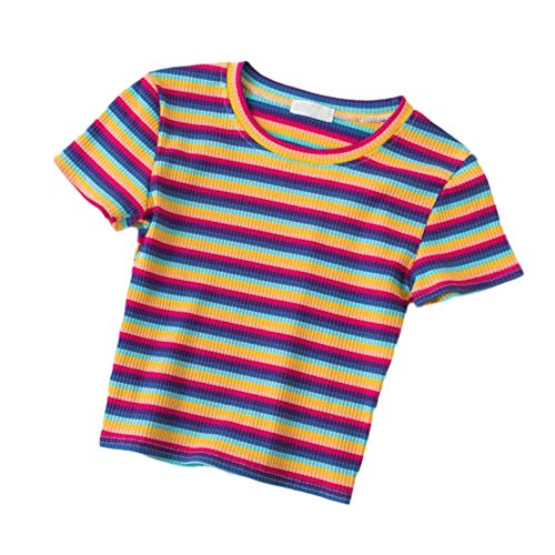 La nueva camiseta de las mujeres arco iris rayas camisa delgada versión coreana de Harajuku verano manga corta camiseta ropa 3 rayas. S