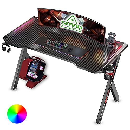 SOViD Gaming Desk with LED RGB Ligh…