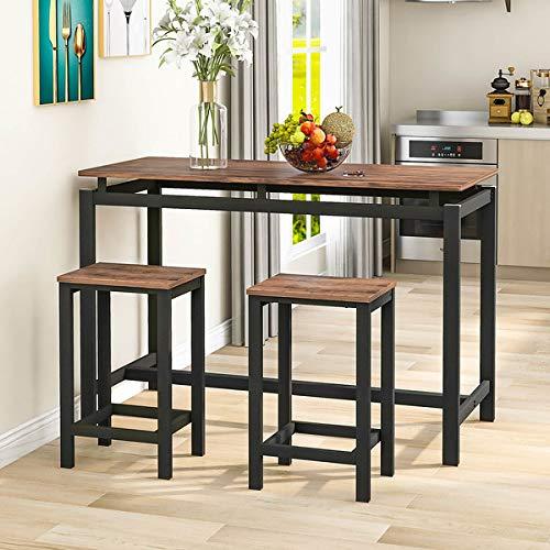 Bartisch-Set, Bar Tisch und Stühle aus Eisenholz, Küchentisch und Stühle, Stehtisch und Barhocker, Restaurant, Stehtisch aus dunklem Holz