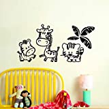 GJQFJBS Zoo wandaufkleber kinder dekoration cartoon tier vinyl wandtattoo kreative kinder wandbild A2 120 cm x 58 cm