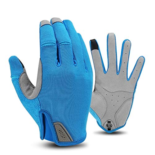 JEONSWOD Guantes de ciclismo de deportes de invierno Guantes de pesca Guantes de bicicleta MTB Guantes de ciclismo de dedo completo para mujeres masculinas de bicicleta (Color : Blue, Size : Small)