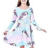 Vestido para niña Unicornio Arco Iris Casual Manga Larga 10 años