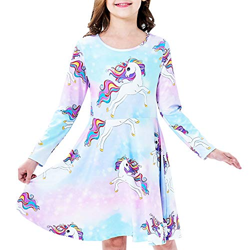 Sunny Fashion Robe Fille Licorne Arc-en- Décontractée Longue Manche 5 Ans