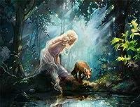 数字によるDiy絵画デジタル絵画美しい妖精の女の子蝶エルフ手作りの絵画アクリル絵の具家の装飾油絵