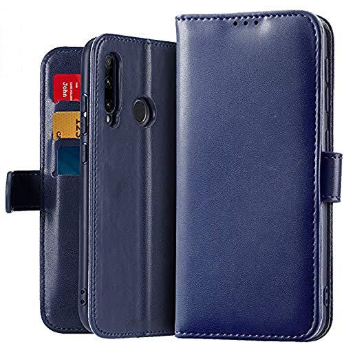 OJBKase Funda Compatible con Huawei Honor 20 Lite/P Smart Plus 2019, Premium PU Funda Cubierta Interior TPU [Soporte] [Ranuras para Tarjetas] [Magnético] Protección Case (Azul)