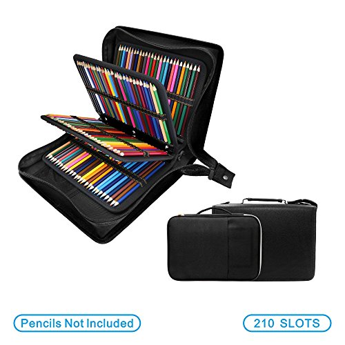 YOUSHARES - Estuche para lápices de colores de piel sintética con 200 + 16 compartimentos, gran capacidad, para lápices de colores Prismacolor, lápices de colores Crayola(negro)
