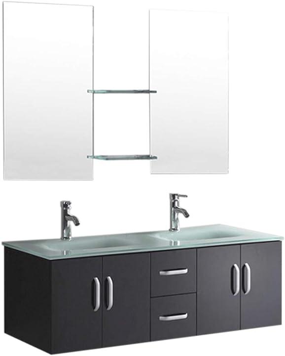 Bagno moderno arredobagno 150 cm nero laccato mobile + lavandini + 2 specchi + 2 miscelatori B015H4KPGW