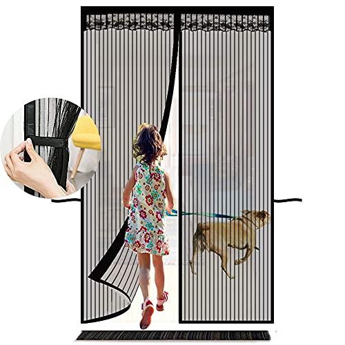 Orumrud Mosquitera Puerta Magnética, 90x210CM con Rayas Verticales Mosquiteras Cortina Malla Mosquitera Puerta Cierre Automaticamente Magnetica & Prácticas Correas para Patio Balcón Cocina, Negro