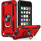 iPod Touch 7 Case, iPod Touch 6 Case with Car Mount,IDweel Hybrid Rugged Shockproof Protective Cover with Built-in Kickstand for Apple iPod Touch 5 6 7th Generation, Red