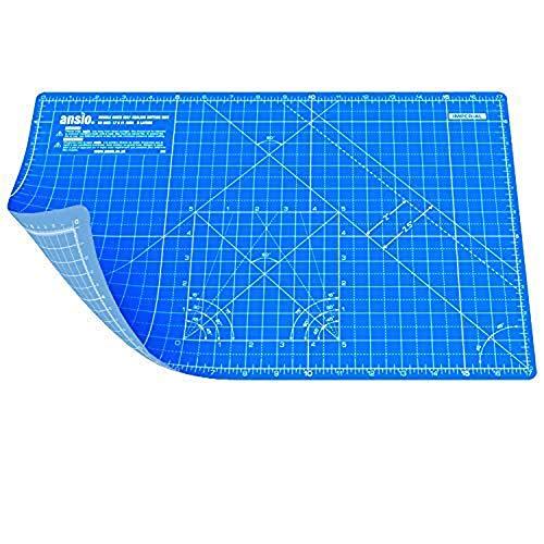 ANSIO Tapis de coupe Auto-cicatrisant A3 Double Face 5 Couches - Quilting, Couture, Scrapbooking, Tissu & Papercraft - Imperial/Métrique 17 x 11 pouces / 42 x 27 cm -Vrai bleu/Bleu ciel