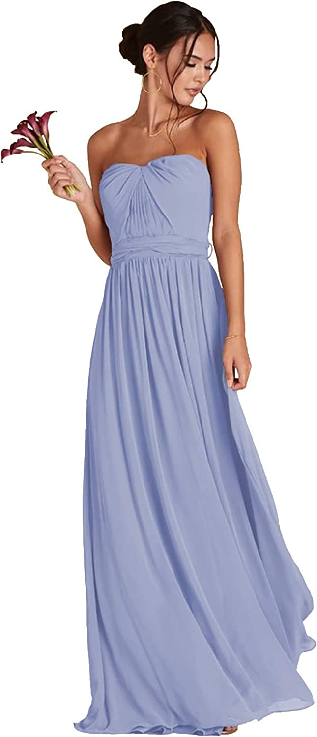 ONEDress Women's Convertible Bridesmaid Dresses A-line Pleated Chiffon Sleeveless Long Formal Evening Gown with Pockets OD012