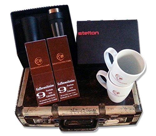 Coffeepolitan Geschenk-Set für Paare: Kaffee-Weltreise mit Zubereitungsset Probier-Set zum Advent