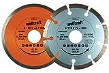 Wolfcraft 8390000 set de 2 discos diamantados de tronzar, uno segmentado y el otro cerrado PACK 1, 110x22.23mm